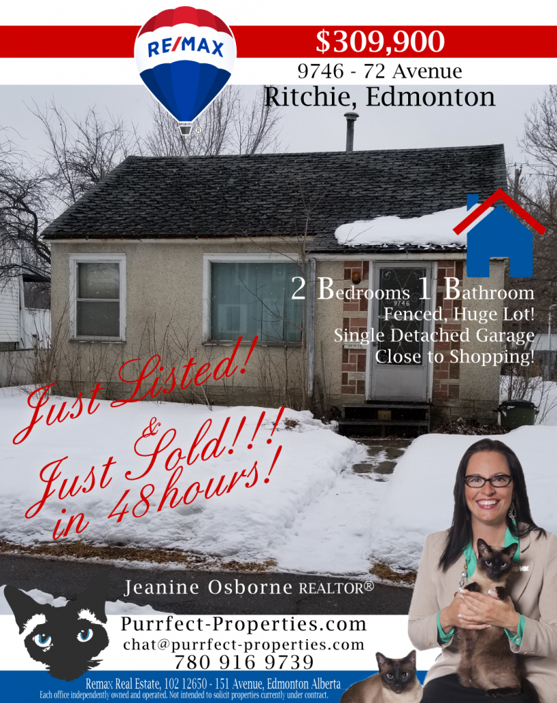 just listed in Edmonton, Purrfect Properties, Re/Max Real Estate